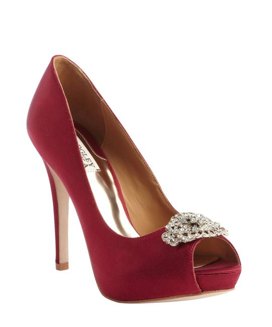 Item - Red Cranberry Textile 'goodie' Crystal Charm Peep Toe Pump Formal Shoes Size US 9.5 Regular (M, B)