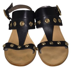 Trina Turk Studded Gold Black Sandals