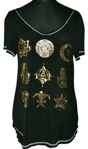 One Eye Moon Stars Gold T Shirt black