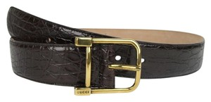 Gucci New Gucci Women Brown Belt w/Gold Buckle Size 105/42 257319 E7I0T 2140
