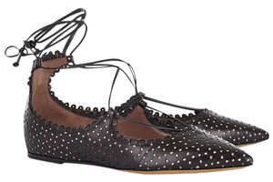 Tabitha Simmons Ballet Ballerina Lace Up Leather Black Flats