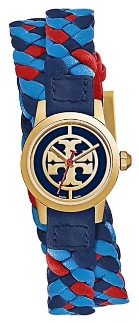 Item - Blue/Red/Gold Tone Trb4033 Reva Braided Double-wrap & Leather Strap Watch