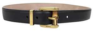 Gucci New Gucci Women Black Leather Belt Bamboo Buckle 80/32 339068 1000