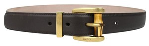 Gucci Gucci Women Dark Brown Leather Belt Bamboo Buckle 85/34 339068 2140