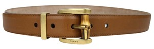 Gucci New Gucci Women's Brown Leather Belt w/Bamboo Buckle 85/34 339068 2535