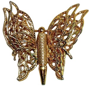 MONET FILAGREE GOLD PLATED BUTTERFLY SIGNED BROOCH