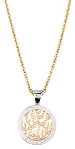 BVLGARI BVLGARI Diamond Tondo Fire Pendant and 18K Gold Chain Necklace