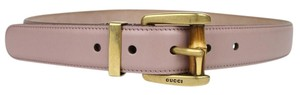 Gucci New Women's Light Pink Leather Belt w/Bamboo Buckle 85/34 339068 6812