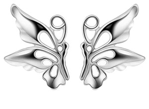 BRAND NEW! CUTE, SMALL, SILVER PLATED BUTTERFLY EARRINGS!