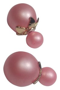 New Double Sided Stud Earrings Pink Gold Round J2795