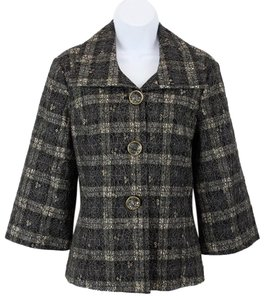 Chico's Chicos 0 Black Gold Lace Over Cream Navy Multi Plaid 34 Sleeve Blazer B114