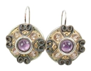Michael Golan Round Silver Gold Purple Lever Back Earrings Bj09