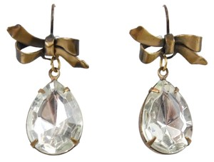 Betsey Brass Bow Faux Teardrop Crystal Dangle Earring Bj10