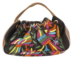Kate Spade Canvas Leather Embroidered Hobo Bag