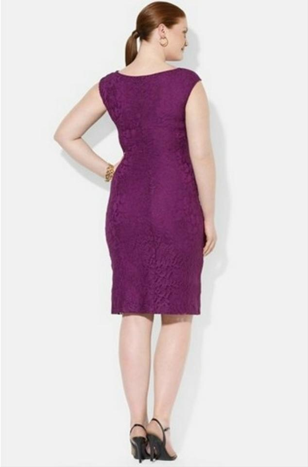 Ralph Lauren Purple Lace Knee Length Cocktail Dress Size 22 (Plus 2x ...
