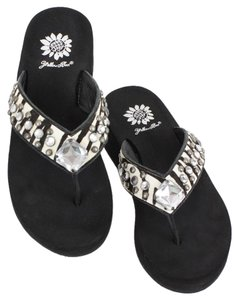 Yellow Box Calf Black White Sandals