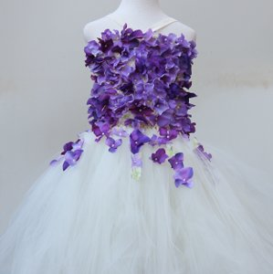 Custom Made Ivory Lavender Flower Girls Dress