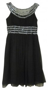 Adrianna Papell Sequins Silver Prom Dress