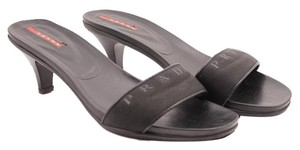 Prada Slide Kitten Heel Black Sandals