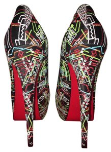 Christian Louboutin Peep Toe Black/Red Multicolor Pumps