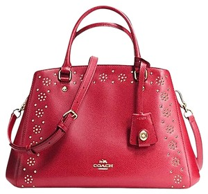 Coach Stud Studded Leather Satchel in Red