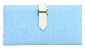 Hermès Herms Blue Leather Bearn Long Wallet