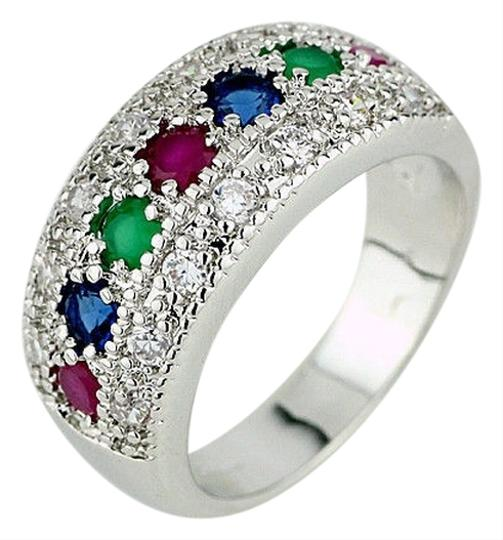 Bella & Chloe Sterling Silver CZ, Ruby, Emerald, and sapphire Ring, Size 8, 3.4gms.Wedding or Engagemt Band