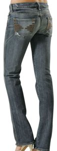 7 For All Mankind Colette Distressed Straight Leg Jeans-Distressed