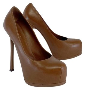 Saint Laurent Brown Leather Platform Pumps