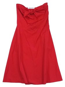 Miu Miu short dress Red Strapless A Line Tie on Tradesy