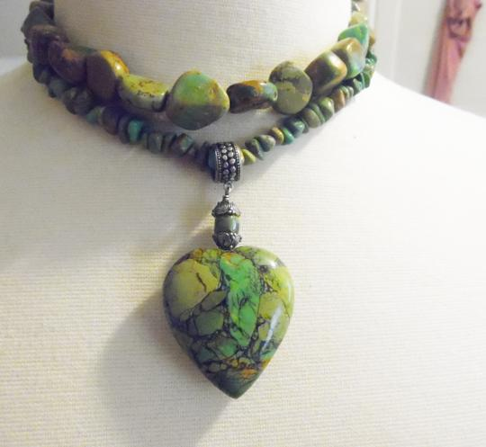 "Mine Finds by Jay King Mine Finds By Jay King Mojave Green Turquoise 18"" Necklace Set with Heart Shape Pendant"
