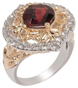 Victoria Wieck Victoria Wieck 2.97ct Garnet and White Topaz Sterling Ring - Size 6