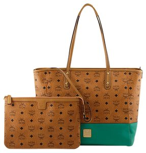 MCM Purse Penny Lane Tote in Cognac & Green