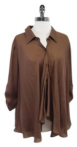 Escada Bronze Brown Silk Button Down Button Down Shirt