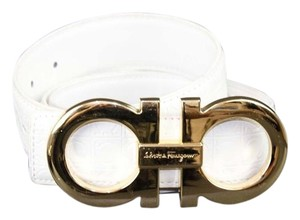 Salvatore Ferragamo Salvatore Ferragamo 37- 40 White Gold Embossed Leather Belt B297