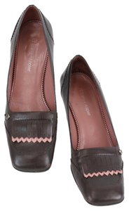 Etienne Aigner 6m Square Toe Chunky Heel Toe Fringe B253 Brown Pink Pumps