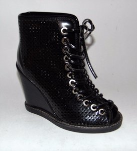 Jeffrey Campbell Cors Style Lace Up Wedge Sandal Black Boots