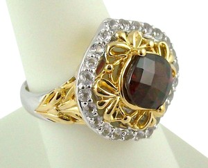 Victoria Wieck Victoria Wieck 2.97ct Garnet and White Topaz Sterling Ring - Size 8