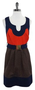 MILLY short dress Navy Orange & Brown Cotton on Tradesy