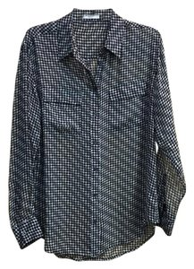 Equipment Sheer Flowy Houndstooth Button Down Shirt Black/White