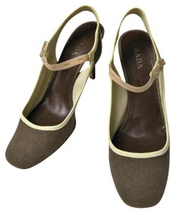 Prada Mary Jane Linen Brown Buttons brown/nude Pumps