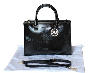 MICHAEL Michael Kors Patent Leather Gold Hardware Crystal Removable Strap Logo Charm Double Zip Satchel in Black