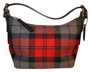 Coach Wool Leather Plaid Baguette