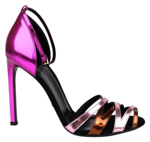 Gucci Patent Leather Ankle Strap Multi-Color Sandals