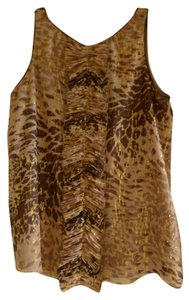 Tibi Metallic Silk Leopard Top Brown, Beige and Gold