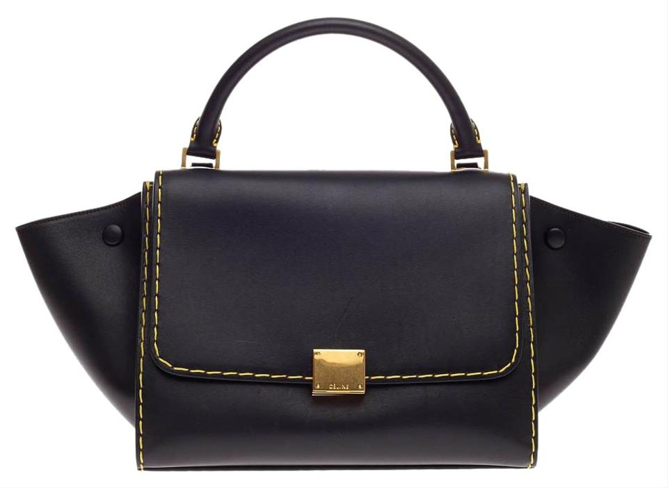 celine classic leather bag price - C��line Trapeze Leather Small Black Satchel on Sale, 19% Off ...