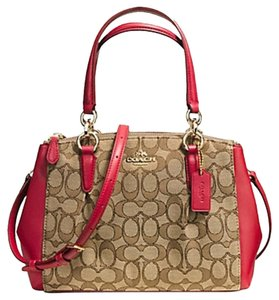 Coach Satchel in Khaki Classic Red