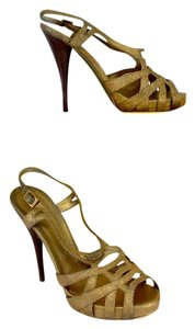 Fendi Metallic Gold Leather Cut Out Sandals