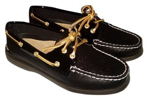 Sperry Boat Loafers NEW!! Black Sperry's with black Caviar (Glitter) and Gold shoe strings Flats