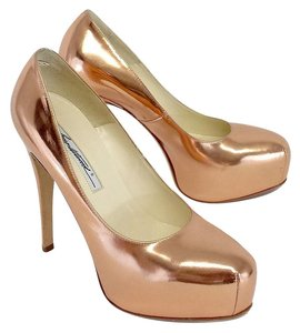 Brian Atwood Rose Gold Manlac Metallic Pumps
